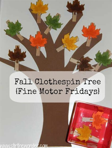 fall clothespin tree fine motor fridays stir