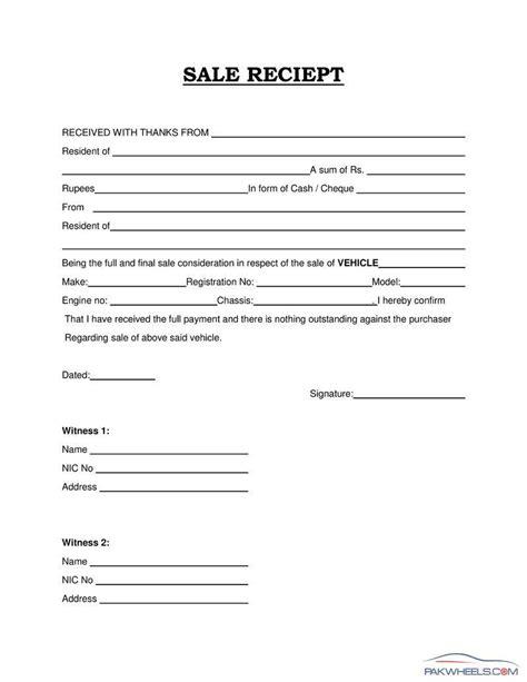 sale receipt vehicle documentation registration