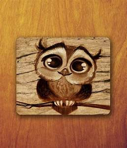 Baby Owl Cartoon Drawing Mouse Pad cute Animal big by ...