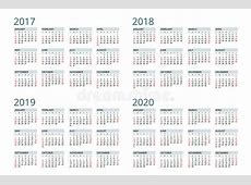 Calendar For 2017, 2018, 2019, 2020 Week Starts Sunday
