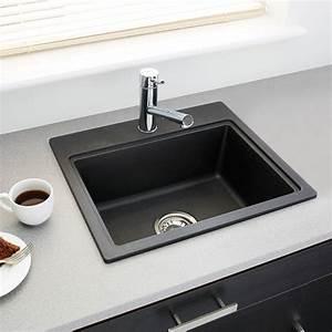Evier Cuisine Granit : evier de cuisine monza granit noir 1 cuve carr 51 x 43 cm ~ Premium-room.com Idées de Décoration