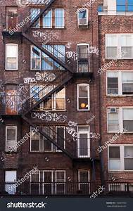 Back Side Brick Apartment Building Manhattan Stock Photo