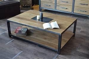 Table Bois Et Fer : table de salon fer et bois table basse en couleur somum ~ Teatrodelosmanantiales.com Idées de Décoration