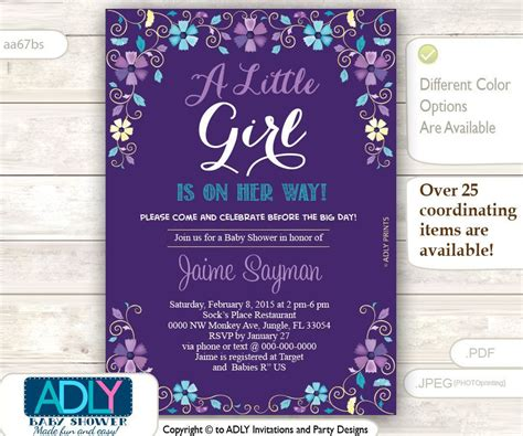 Purple Baby Shower Invitations by Purple Turquoise And Gold Baby Shower By