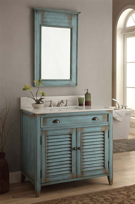 Distressed Bathroom Vanity Mirror by 36 Quot Distress Blue Abbeville Vanity Mirror Cf28884bu