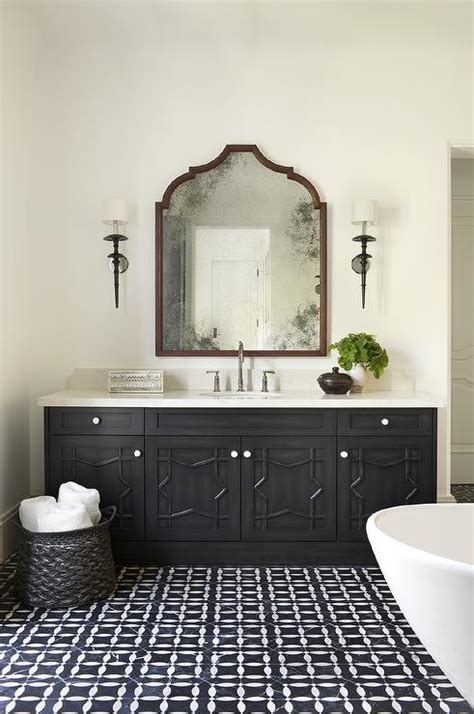 black moroccan washstand with black and white mosaic