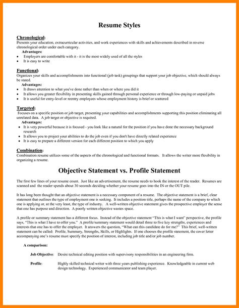 Objective Statement For A Resume Exles by 8 Exle Resume Objective Statement Emt Resume