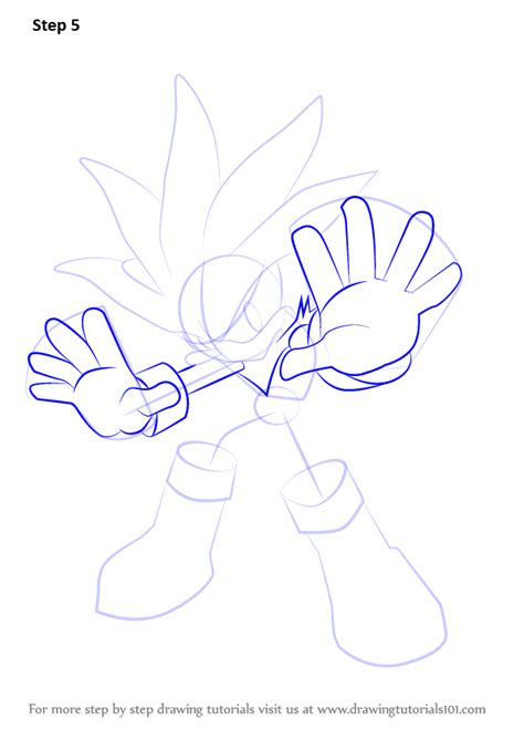 step  step   draw silver  hedgehog  sonic