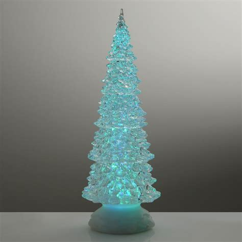 32cm xmas tree colour changing led light glitter water