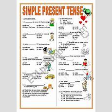 Simple Present Tense Test Worksheet  Aulas  Simple Present Tense, Simple Present Tense