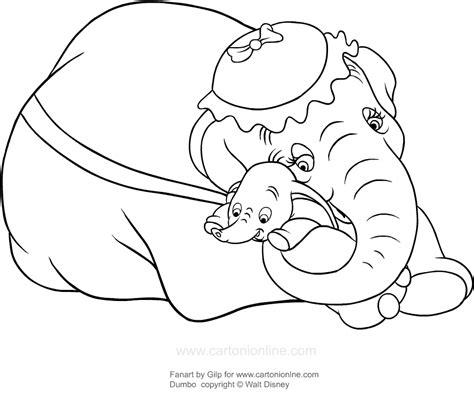disegni a matita disney dumbo disegno di dumbo abbracciato dalla sua mamma da colorare