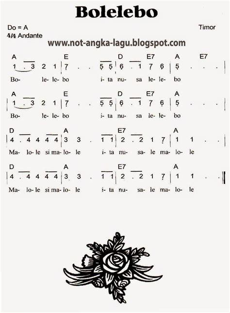 not angka lir ilir not angka lagu bolelebo kumpulan not angka lagu