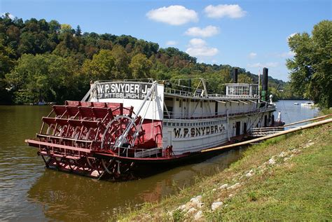 Tow Boat Sinks On Ohio River by W P Snyder Jr Towboat