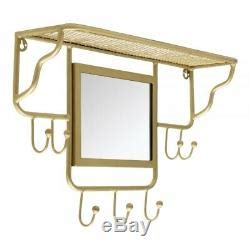 hallwayloungecloakroomkitchen wall mounted coathook rack  mirror shelf