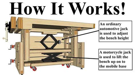 adjustable height workbench design  built  mobile base