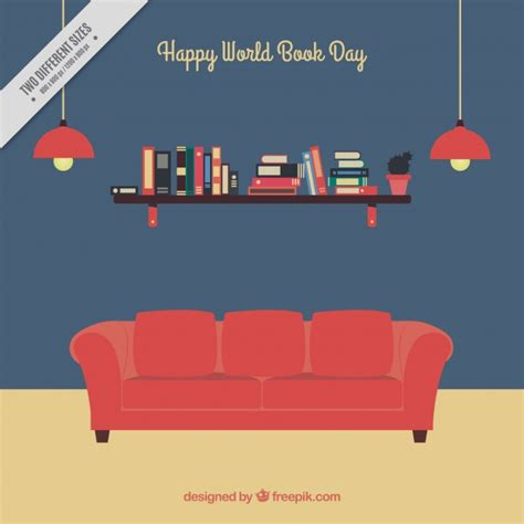 sofa vector book day background with red sofa vector free download