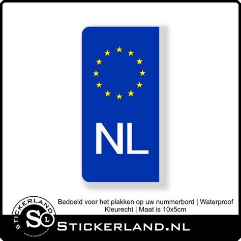 Nummerbord Sticker Euro Nl Blauw Stickerland