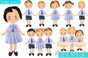 Kids in school uniform clipart collection