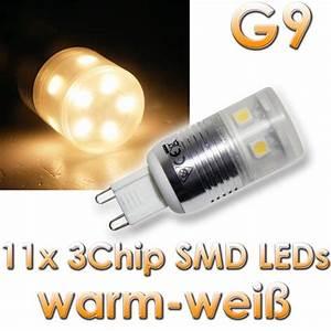 Sockel G9 Led : led leuchtmittel g9 11x 3chip smd leds warmwei im led onlineshop ~ Orissabook.com Haus und Dekorationen