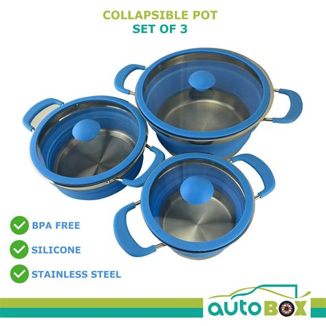 collapsible pot caravan camping complete silicone stainless steel rv autobox