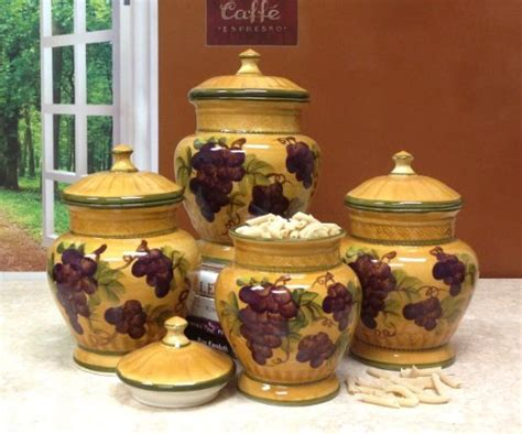 grape kitchen canisters 4pc ceramic canister set tuscany grape ebay