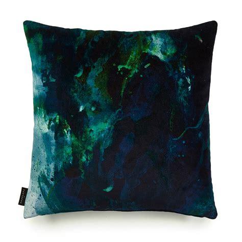 nebulous green blue cotton velvet cushion