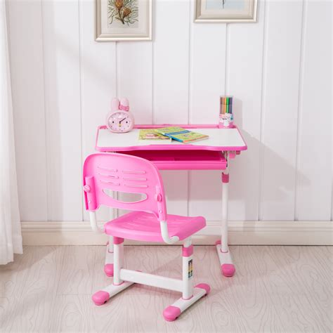 study desk and chair pink adjustable children s desk and chair set child