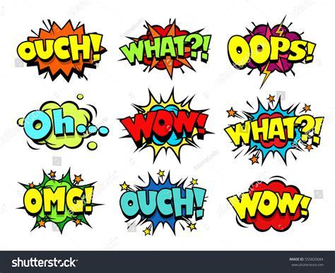 Comic Book Sound Effect Speech Bubbles Stock Vector