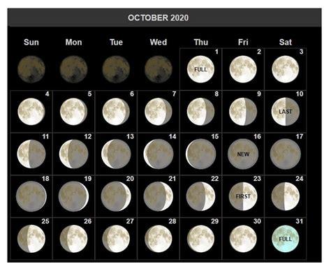 october  moon phases calendar  moon  full moon