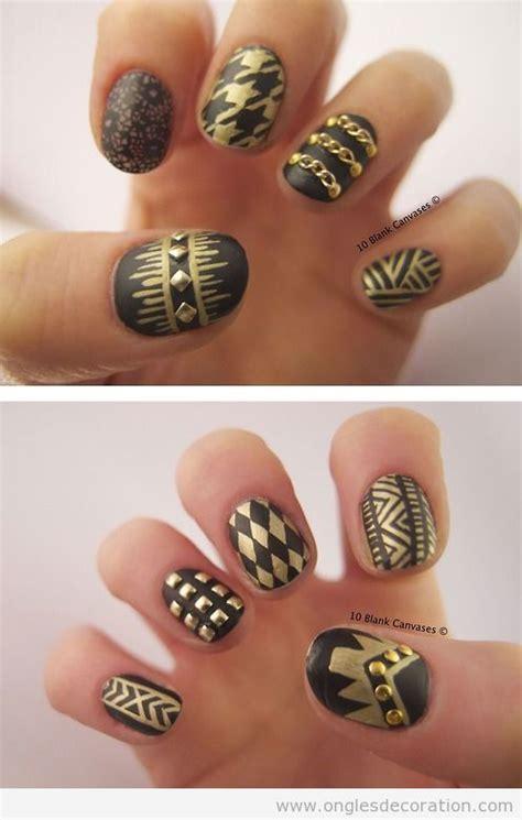deco ongle noir et or d 233 co sur ongles en noir et dor 233 mat d 233 coration d ongles tout sur le nail la dec 243 ration