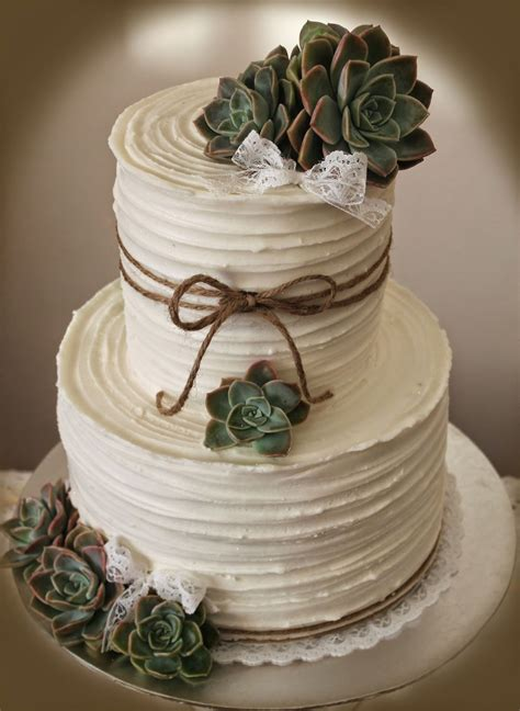 Delanas Cakes Rustic Wedding Cake With Succulents
