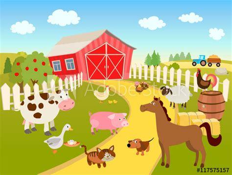 cartoon farm scene illustration  domestic birds
