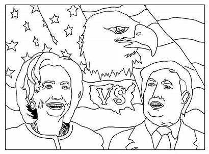 Trump Donald Coloring Pages Campaign