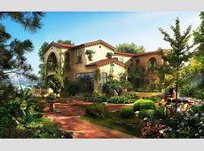 Houses Gardens Mansion Shrubs Cities 3D Graphics wallpaper