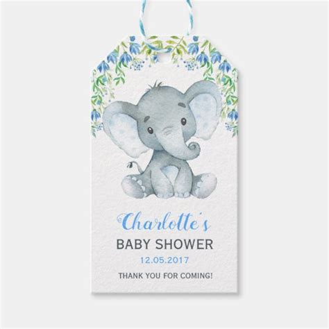 Baby elephant baby shower, blue and gray, blue and silver, blue silver gray and white, by bellapartydecor in chandler az. Boy Elephant Baby Shower Floral Favor Gift Tag | Zazzle.com