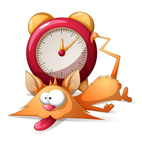 Cartoon characters isolated on white background. Cartoon sleep funny, cute cat and alarm clock. Vector ...