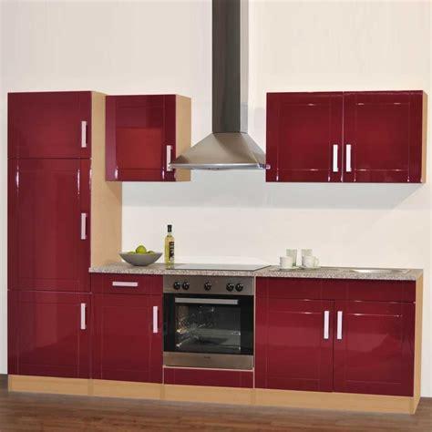 Küchenzeile Marina In Rot Hochglanz Und Buche Wohnende