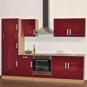 Kuchenzeile marina in rot hochglanz und buche wohnende for Küchenzeile hochglanz