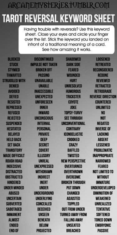 ArcaneMysteries (Tarot Reversal Keyword Sheet.)   Mystical