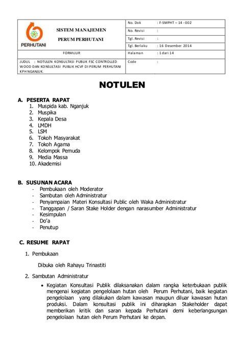 Contoh Bentuk Notulen Rapat by Contoh Format Laporan Notulen Rapat Contoh Two