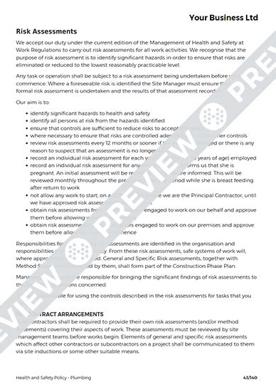 plumbing health  safety policy template haspod