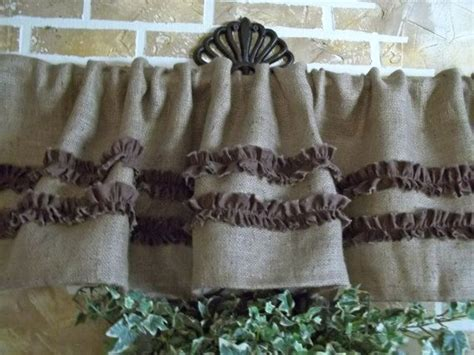 Burlap Valance With Chocolate Brown Cotton By