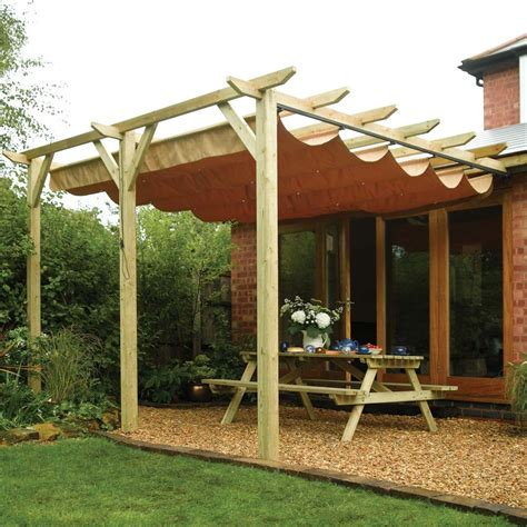ft    retractable  post wall mounted wooden garden pergola canopy