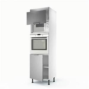 Meuble de cuisine colonne décor aluminium 3 portes Stil H 200 x l 60 x P 56 cm Leroy Merlin