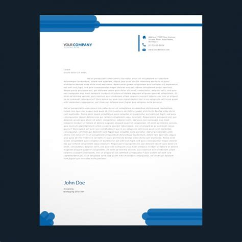 blue details letterhead template vector