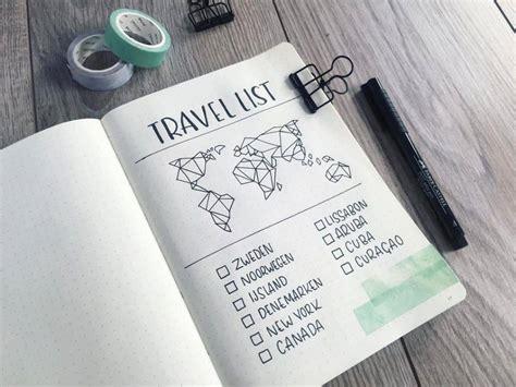 travel inspired bullet journal spreads