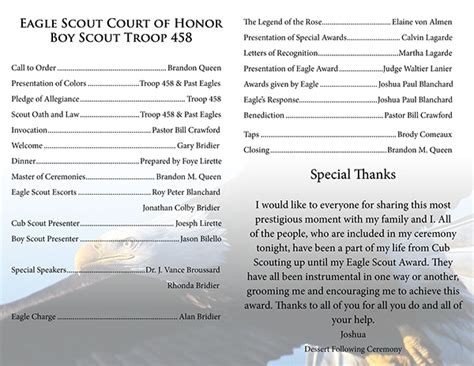 eagle court of honor program joshua blanchard s eagle court of honor press kit on behance