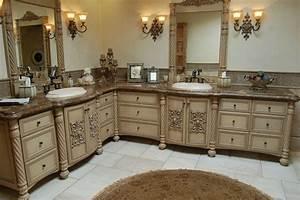 Handmade Custom Faux Finish Master Bathroom Cabinets by