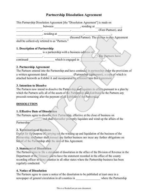 partnership dissolution agreement form  sample