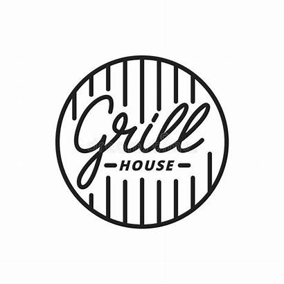 Grill Lettering Label Steak Restaurant Sign Barbecue